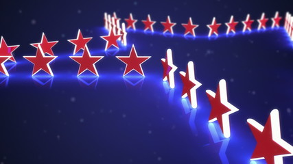 Animated stars on a blue background