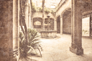 view of an typical patio in Spain - picture in retro style.