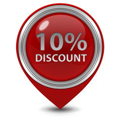 Discount ten percent pointer icon on white background