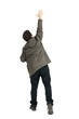 man standing on white background, back