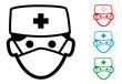 Pictograma icono cirujano en varios colores