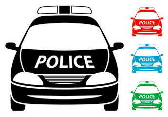 Pictograma coche policia en varios colores