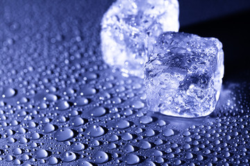 water drops with ice cubes