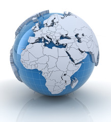 Globe with extruded continents, Europe and Africa region