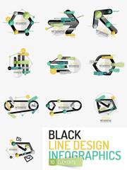 Set of minimal line design office web infographics
