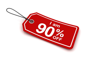 I am 90 percent off sale tag, 3d render