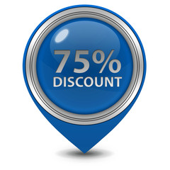 Discount 75 pointer icon on white background