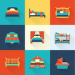 Vector bed icon set - 77215276