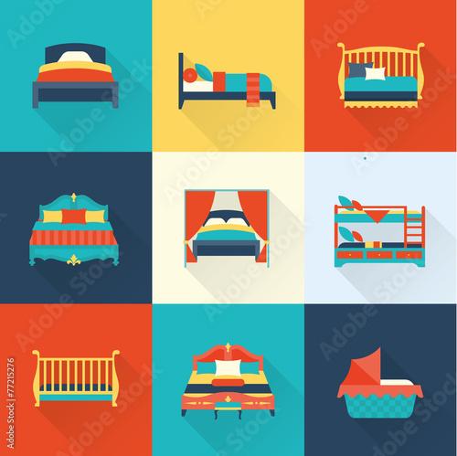 Vector bed icon set - 77215276