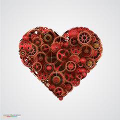 Heart made of metal cogwheel