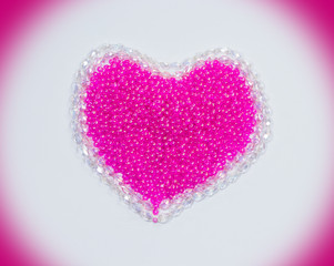 crystal and beads of make valentine hearts
