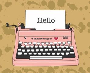 Desenho máquina de escrever, retro, vintage