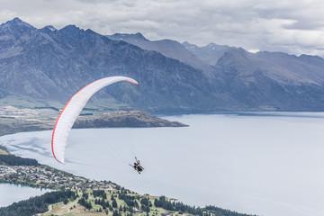 Paragliding above lake Wakatipu, Queensland, Otago, New Zealand