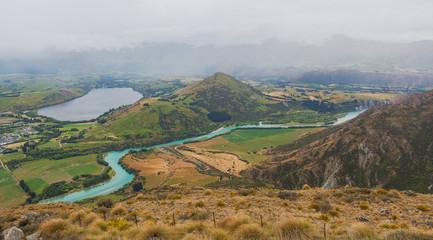 Lake Hayes and Kawarau river viewed from the Remarkables ski are