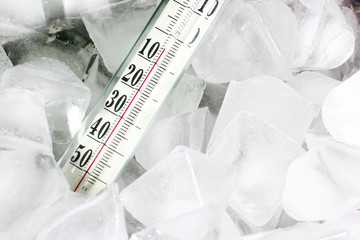 Glass thermometer for measuring of temperature and ice