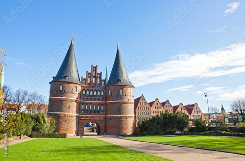 Holsten Gate in Lubeck old town, Germany - 77221894