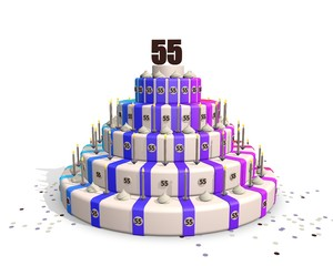 Happy big birthday cake with chocolate number 55 on top