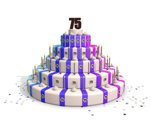Happy big birthday cake with chocolate number 75 on top
