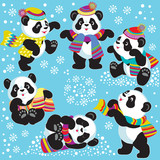 set with cartoon panda in winter