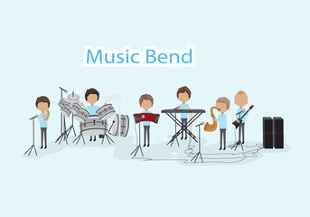 Musicians - Isolated On Blue Background