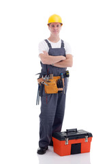 young worker with equipment toolbox isolated on white
