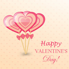 Happy Valentines Day Greeting Card with  heart-shaped lollipop