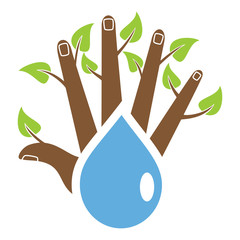 Caring nature, hand, tree, water, vector illustration