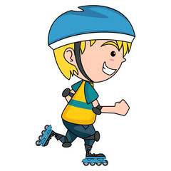 Kid on roller skates, isolated vector illustration