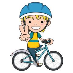 Kid riding bike, vector illustration, isolated