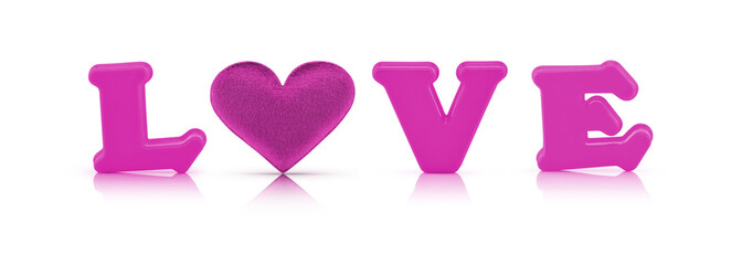 pink love alphabet and fabric heart with clipping path