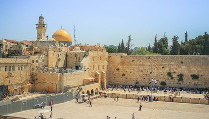 Wailing Wall and on the gold-plated Dome Rock Al-Aqsa
