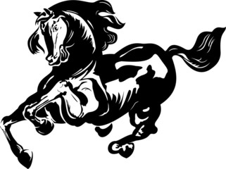 Vector illustration of running horse silhouette
