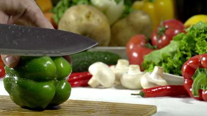 Cutting Knife Green Bell Pepper