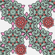 Japanese pattern. Ornamental styled red and green mandalas