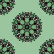 Seamless green mandala flower. Ornamental kaleidoskopic