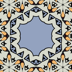 Ornamental frame border with copyspace. Mandala hexagonal