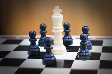 One king and pawns closeup