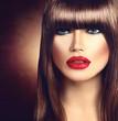 Beautiful brunette woman with fashion fringe haircut
