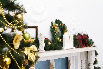 Interior with Christmas decorations. Living room