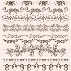 Vector set of floral borders