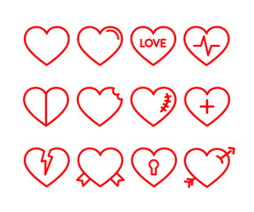 Vector red hearts icons set. Red lined hearts