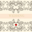 Wedding greeting invitation card with ornament