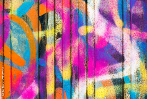 Foto op Canvas Graffiti Colorful painted wall