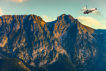 Helicopter in the Tatra Mountains - rescue mission.