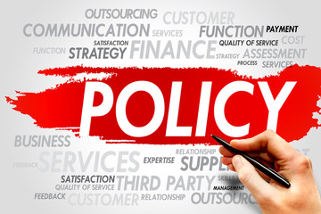 POLICY word cloud, business concept