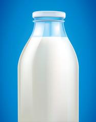 fresh milk in glass bottle on blue background