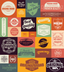 Collection of vintage retro labels, badges and stamps