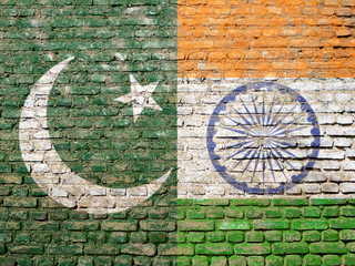 India Pakistan flags painted on wall