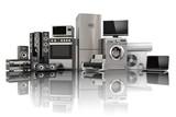 Home appliances. Gas cooker, tv cinema, refrigerator air conditi