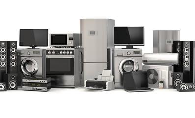 Home appliances.Seamless pattern. Cooker, tv cinema, refrigerato